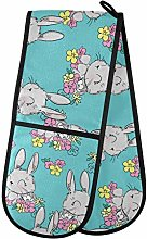 Moyyo Oven Glove Cute Bunny And Flower Double Oven