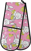 Moyyo Oven Glove Cute Bunny And Flowers Double