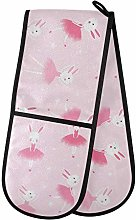 Moyyo Oven Glove Cute Pink Bunny Double Oven Glove