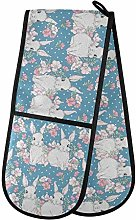 Moyyo Oven Glove Cute Rabbits And Flower Double