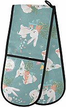 Moyyo Oven Glove Cute White Bunnies Rabbits Double