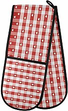 Moyyo Oven Glove Red Hearts And Gingham Double