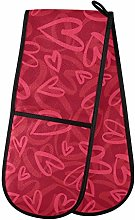 Moyyo Oven Glove Romantic Red Heart Double Oven