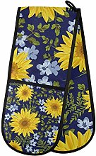 Moyyo Oven Glove Yellow Blue Flowers Double Oven