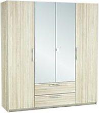 Mozart Mirrored Wardrobe In Shannon Oak And Linen
