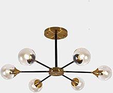 MQJ 8 Lights Black Pendant Lighting with Glass