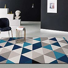 MQJ Carpets Boys Rug Blue Khaki Cream Geometric