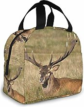 MQJJ Portable Lunch Tote Bag Red Deer Old Stag