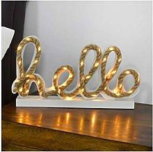 Mr Crimbo Decorative Hello Light Up White Wooden