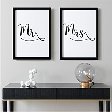 Mr & Mrs Double Wall Art Print Pair | A3 Black