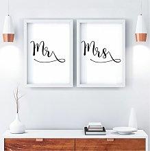 Mr & Mrs Double Wall Art Print Pair | A3 White