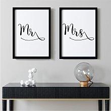 Mr & Mrs Double Wall Art Print Pair | A4 Black