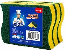 MR.SIGA Heavy Duty Scrub Sponge, Pack of 6,