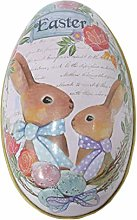 Mrinb Large Easter Egg Rabbit Tinplate Candy Box