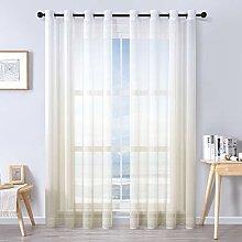 MRTREES Faux Linen Voile Curtains 88 Inch Drop 2