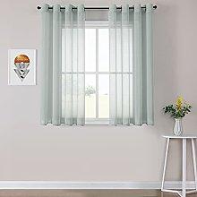 MRTREES Grey Sheer Curtains Linen Look Grommet