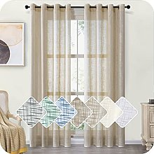 MRTREES Linen Textured Voile Curtains 88 Drop 2