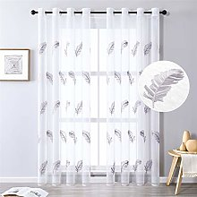 MRTREES Voile Curtain 88 Inch Drop Feather