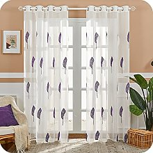 MRTREES Voile Curtain 88 Inch Drop Leaves