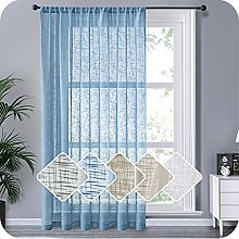 MRTREES Voile Curtain 90 Drop 1 Panel Navy Linen