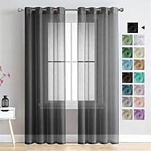 MRTREES Voile Curtains 102 Inch Drop 2 Panels Faux