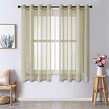 MRTREES Voile Curtains 54 Drop 2 Panels Faux Linen