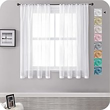 MRTREES Voile Curtains 57 Drop 2 Panels Faux Linen