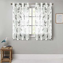 MRTREES Voile Curtains 63 Inch Drop Floral Printed