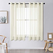 MRTREES Voile Curtains 69 Inch Drop 2 Panels Faux