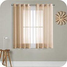 MRTREES Voile Curtains 72 Drop 2 Panels Faux Linen