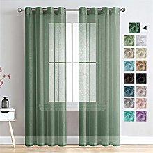 MRTREES Voile Curtains 84 Drop 2 Panels Faux Linen