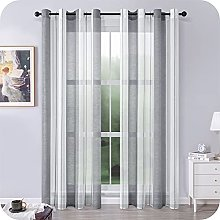 MRTREES Voile Curtains 88 Drop 2 Panels Grey and