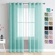 MRTREES Voile Curtains 88 Inch Drop 2 Panels Faux