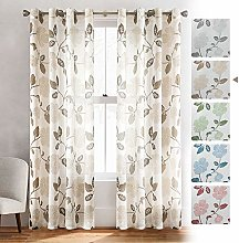 MRTREES Voile Curtains 88 Inch Drop Floral Printed