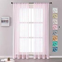 MRTREES Voile Curtains 96 Drop 2 Panels Faux Linen