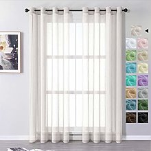 MRTREES Voile Curtains 96 Inch Drop 2 Panels Faux