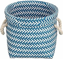 MSV Basket 29 x 29 x 23 cm Blue and White, 29 x 29