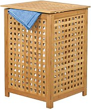 MSV Laundry Basket Bamboo 40x40x85cm, Brown