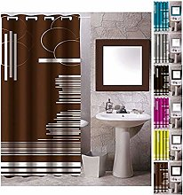 MSV Polyester Shower Curtain 180X200CM Brown