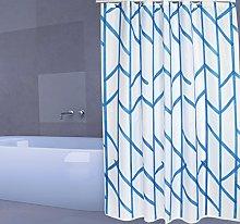 MSV Shower Curtain, Blue/White, Unique Size