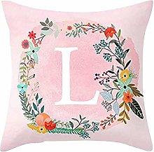 MSYOU Square Pillowcase Pink 26 English Alphabet