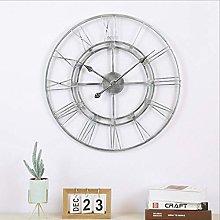 Mtisrx Large Retro Metal Roman Numeral Wall Clock