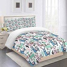 MUCXBE Duvet Cover Set Single Bedding Pink Animal