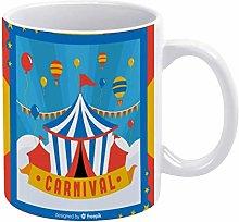 Mug-Circus Tent Carnival Background Mug, 11oz