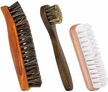 MULOVE 3 pcs Shoe Brush Set, Soft Horsehair