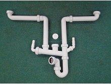 Multi bowl kitchen sink plumbing kit with