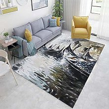 Multicolor Large Area Rug Abstract ink pattern