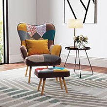 Multicolor Wingback Lounge Chair and Footstool