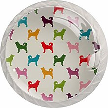 Multicolored Dogs Drawer Knobs Pulls Cabinet