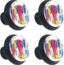 Multicolored Feathers 4PCS Cabinet Knobs, Round
